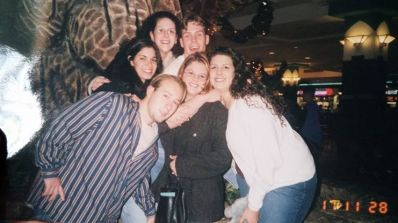 This pic was taken was I was in college about 16 years ago! These are my high school friends, and we are still friends to this day. The guy in the striped shirt is my husband :)
